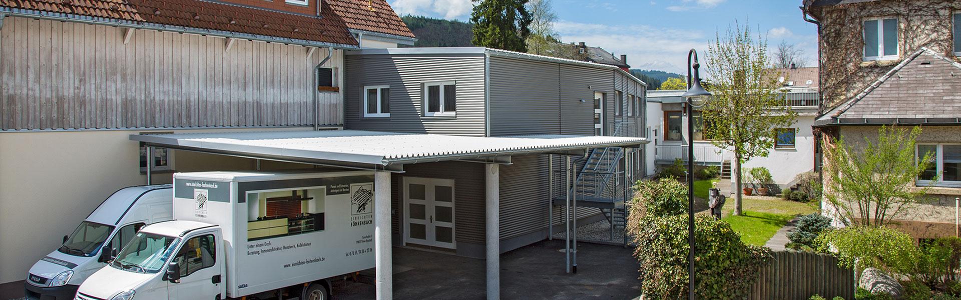 Blick auf die Erweiterung der Schreinerwerkstätte arsinteria - Raumideen von Föhrenbach
